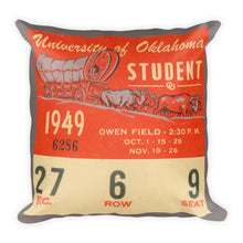 Load image into Gallery viewer, 1949 Oklahoma Sooner Ticket Pillow