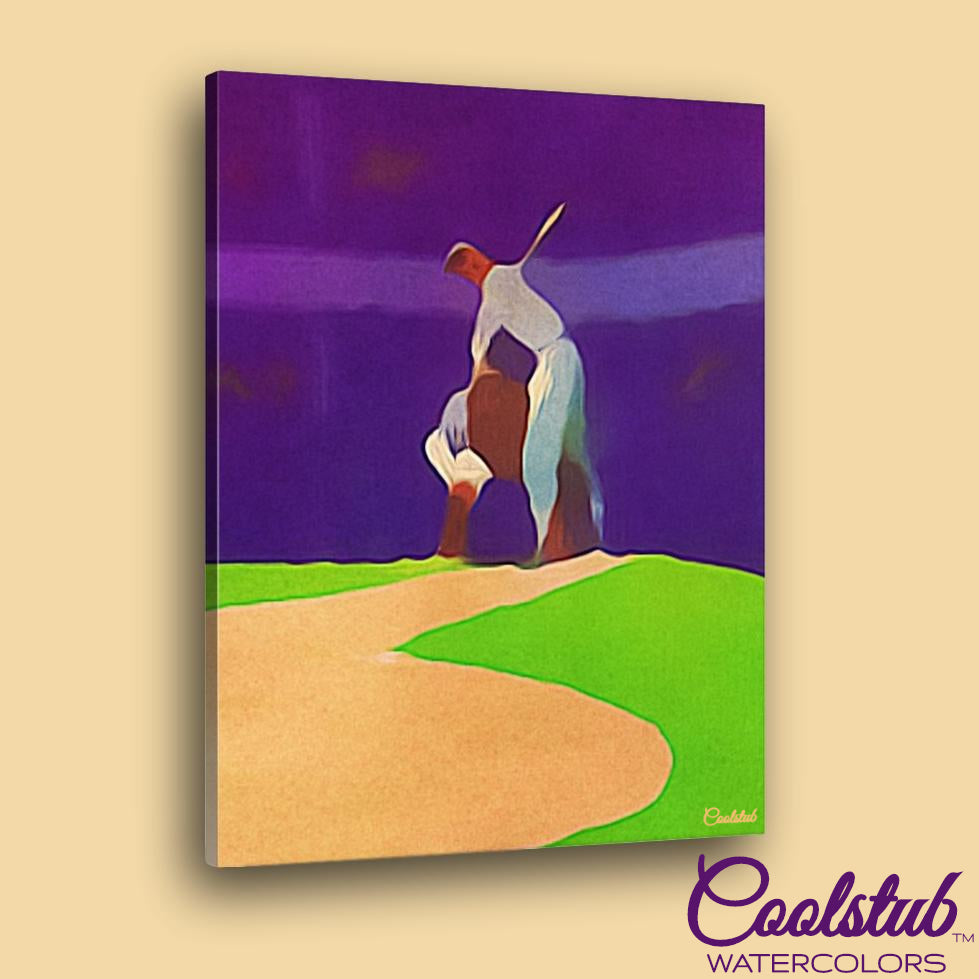 """The Mound"" 1953 Baseball Watercolor by Coolstub™"