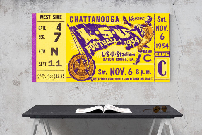 1954 LSU Tigers Ticket Canvas