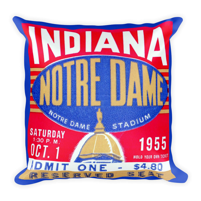 1955 Notre Dame vs. Indiana Ticket Pillow