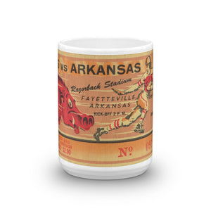 1957 Texas vs. Arkansas Football Ticket Mug