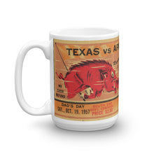 Load image into Gallery viewer, 1957 Texas vs. Arkansas Football Ticket Mug