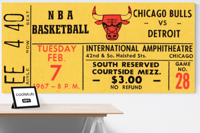 1967 Chicago Bulls vs. Detroit Pistons Ticket Art