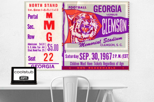 1967 Georgia vs. Clemson ticket stub art by Coolstub™