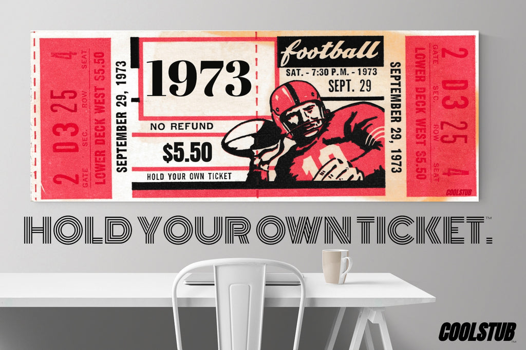 Vintage Ticket Stub Canvas Art (1973)