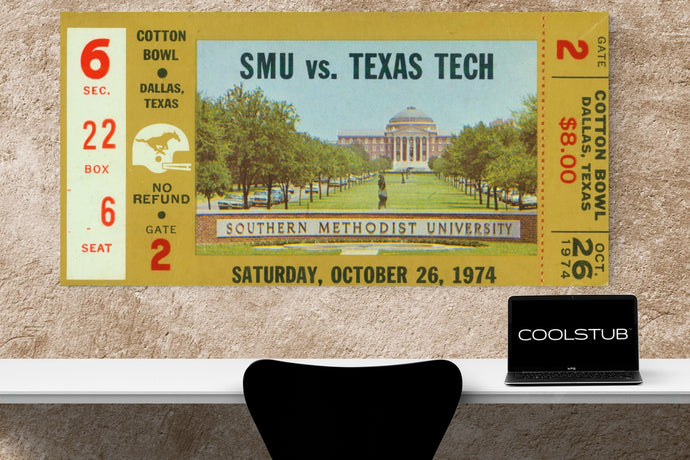 1974 SMU vs. Texas Tech Canvas Ticket Art