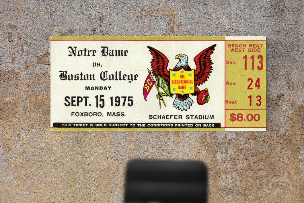 1975 Boston College vs. Notre Dame Canvas Ticket