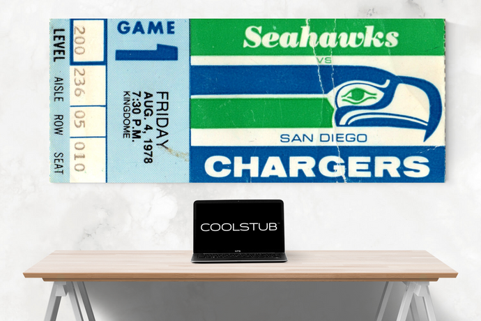 1978 Seattle Seahawks Canvas Ticket Art