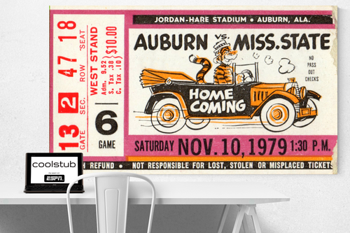Auburn vintage ticket canvas sports art
