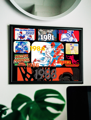 1980's Retro Sports Collage Premium Canvas