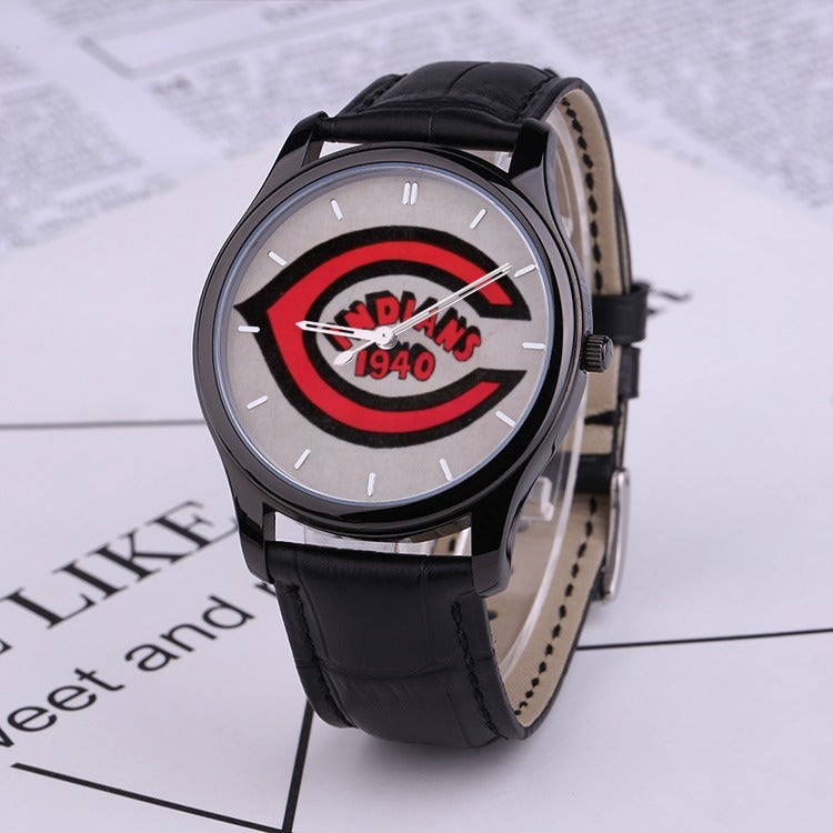1940 Cleveland Indians 30 Meters Waterproof Quartz Fashion Watch With Black Genuine Leather Band