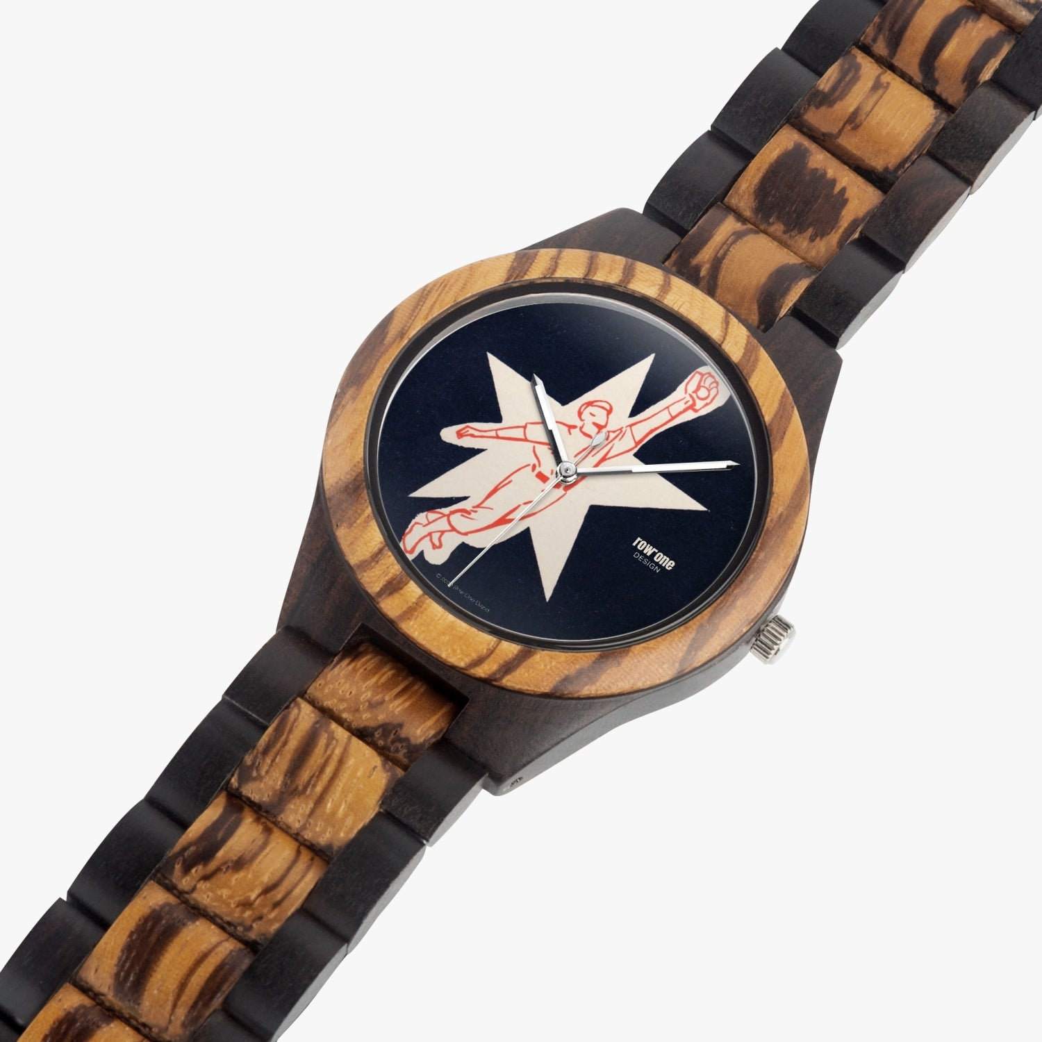 vintage baseball watch face design wooden watch by Row One Brand