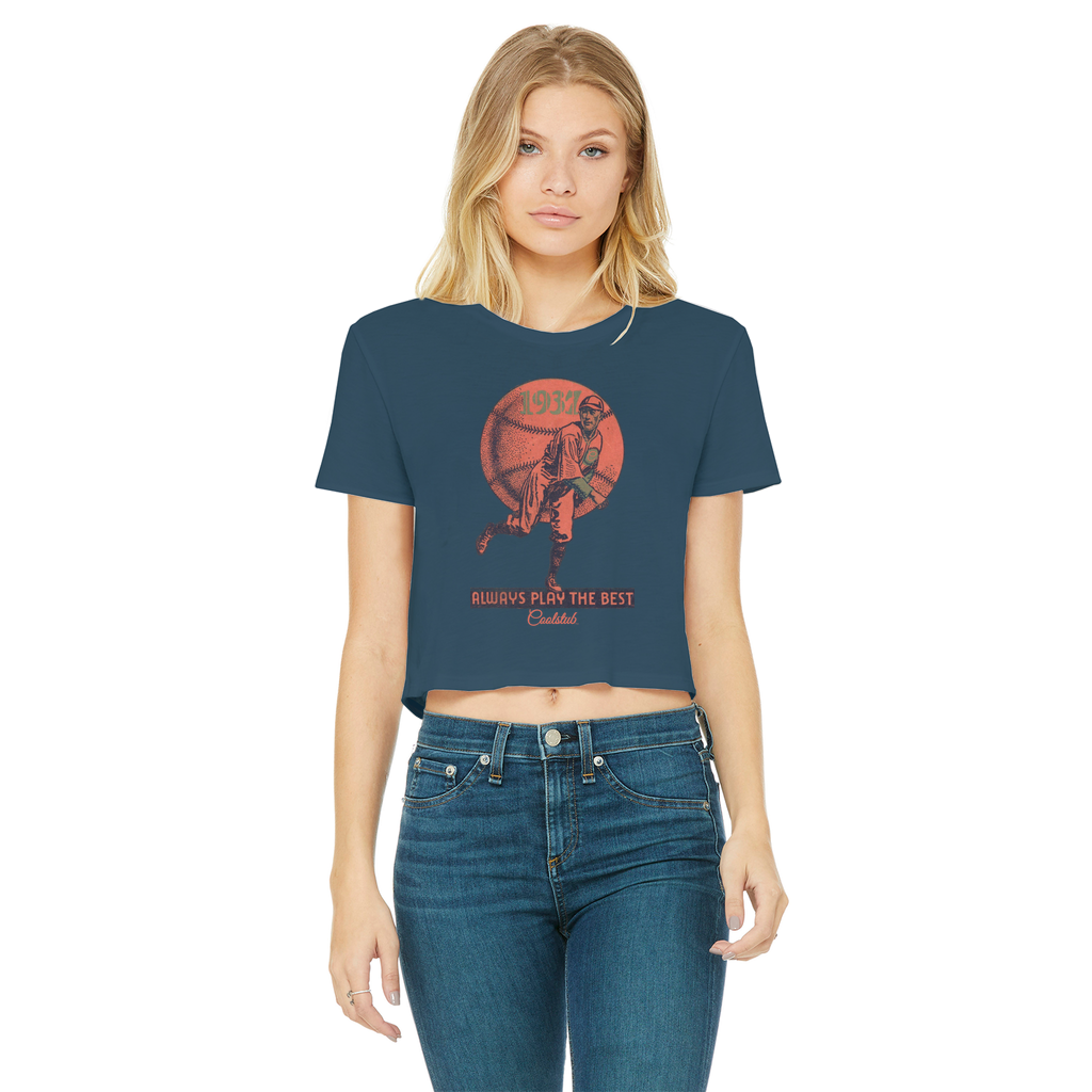 Coolstub™ 1937 Always Play The Best Vintage Classic Women's Cropped Raw Edge T-Shirt