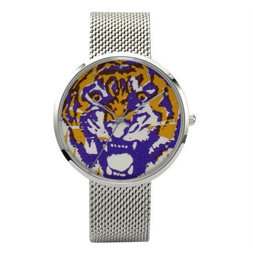 1982 LSU Tigers Waterproof Quartz Fashion Watch With Casual Stainless Steel Band