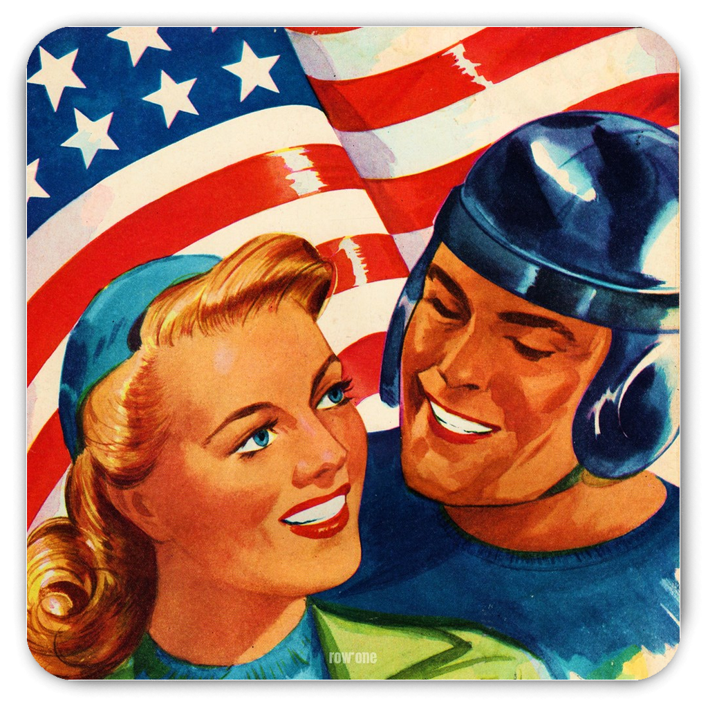 1946 All-American Football Player Patriotic Art Magnet
