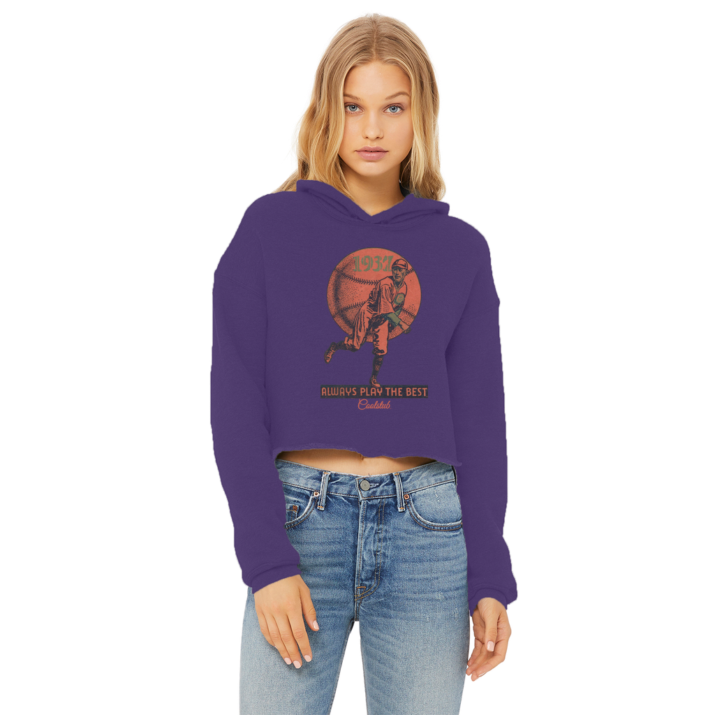 Coolstub™ 1937 Always Play The Best Vintage Ladies Cropped Raw Edge Hoodie