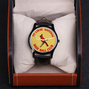 1933 St. Louis Cardinals Waterproof Quartz Fashion Watch With Black Genuine Leather Band