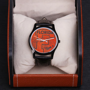 1950's Florida Gator Waterproof Quartz Fashion Watch With Black Genuine Leather Band