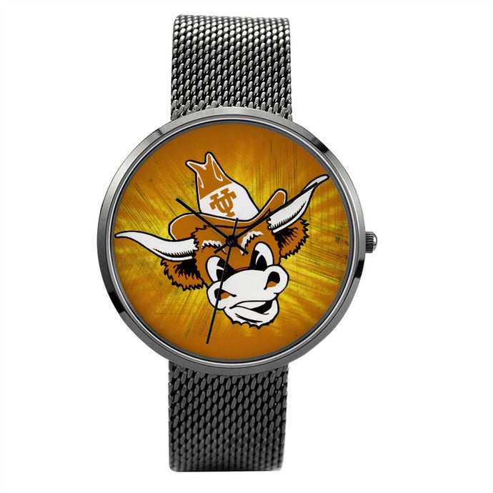 1960's Texas Longhorn Quartz Fashion Watch With Casual Stainless Steel Band