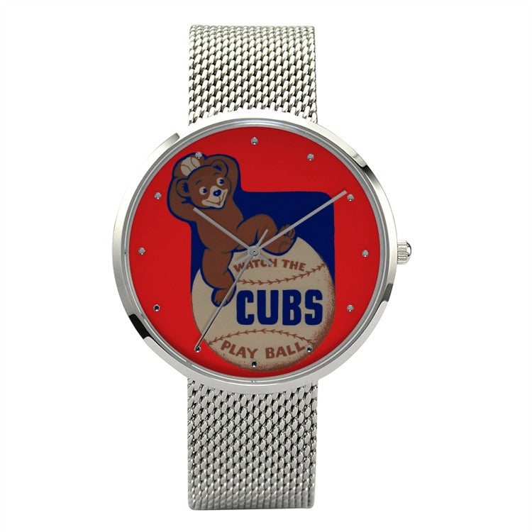 1937 Chicago Cubs Big Face Fashion Watch With Casual Stainless Steel Band