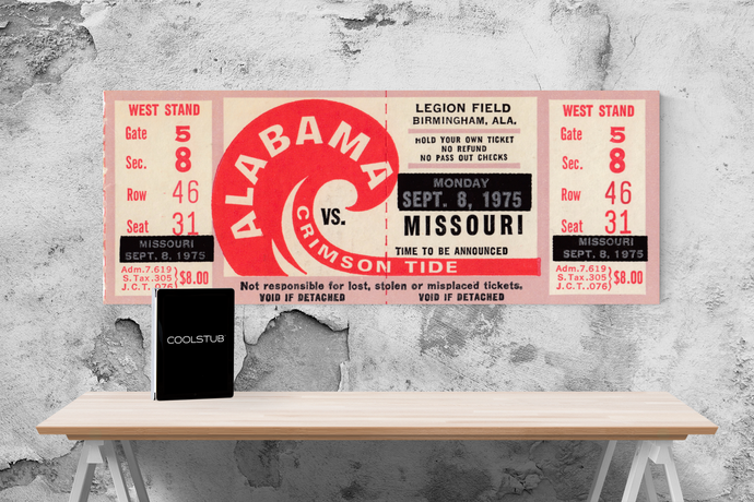1975 Alabama vs. Missouri Canvas Ticket