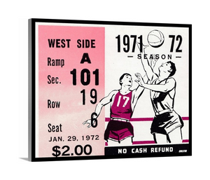 1972 Basketball Ticket Stub Premium Canvas
