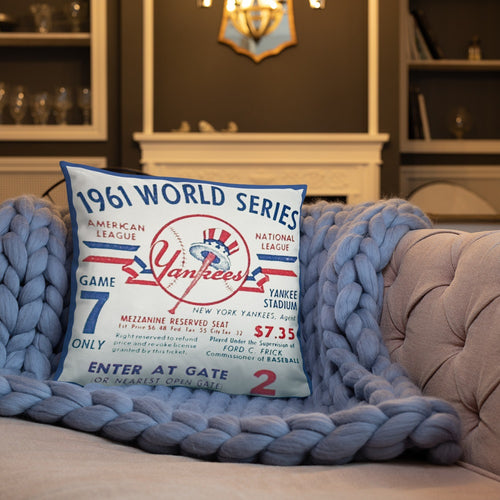 vintage ticket pillow | Yankees ticket pillow