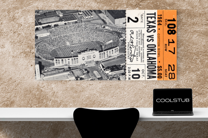 ticket stub wall art | canvas ticket art | COOLSTUB 1964 OU-Texas