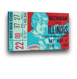 1939 Michigan vs. Illinois Canvas Ticket Art