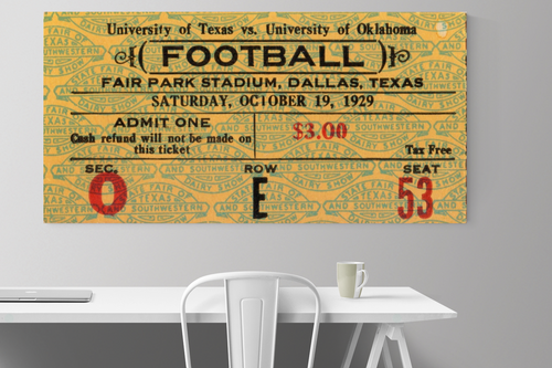 Vintage Oklahoma vs. Texas football ticket stub art