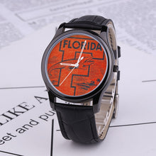 Load image into Gallery viewer, 1950's Florida Gator Waterproof Quartz Fashion Watch With Black Genuine Leather Band