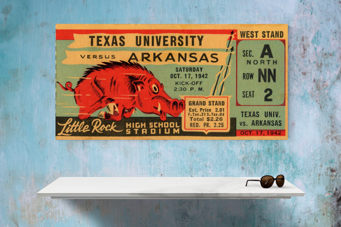1942 Arkansas Razorbacks Ticket Canvas