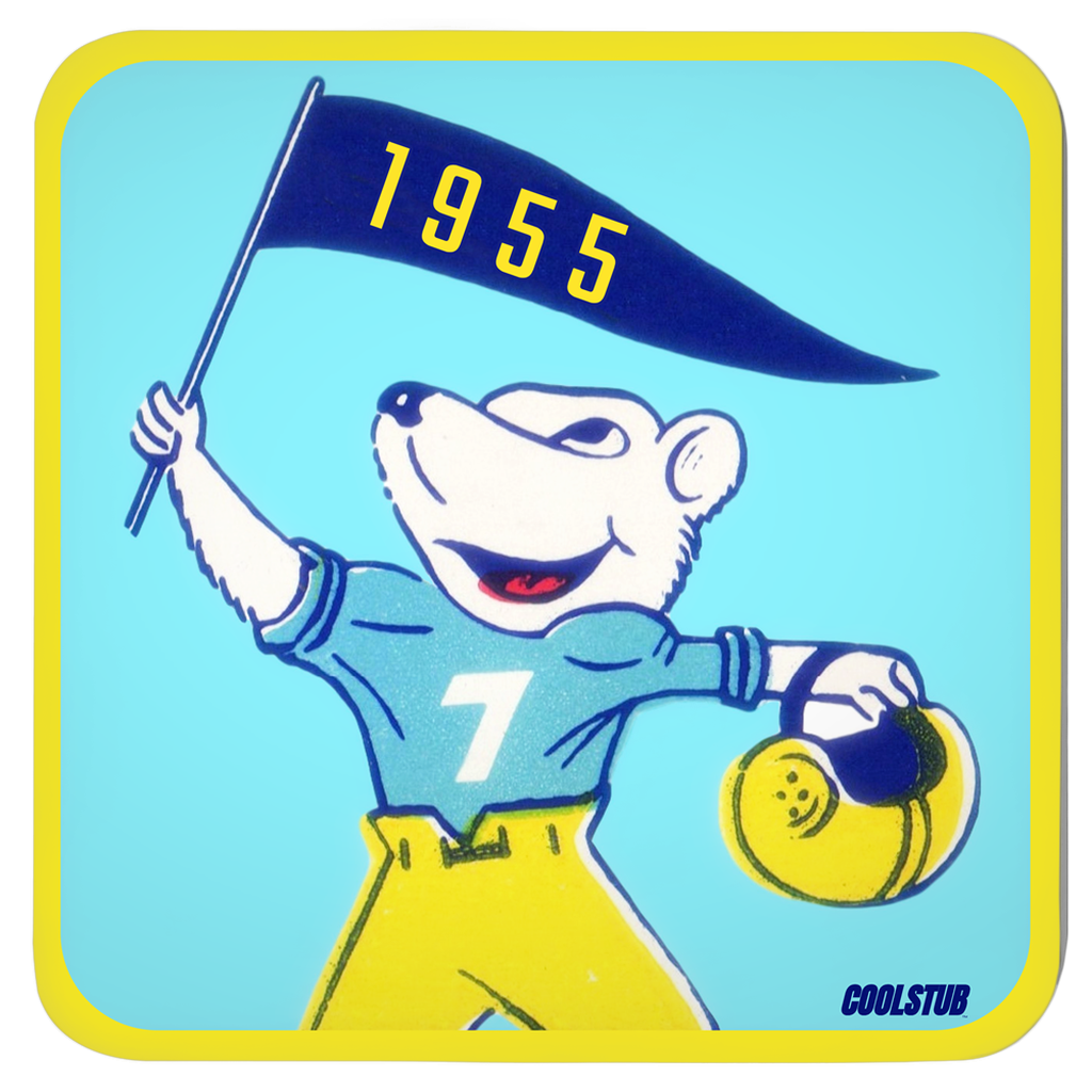 1955 football playing cartoon bear waving a pennant. Bear is wearing a number 7 vintage football uniform holding his helmet. 3.75 inch masonite hardboard drink coaster set that can be easily wiped clean. Unique football gift for babyboomers.