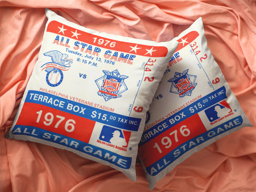 1976 Philadelphia Phillies All-Star Game Ticket Pillow