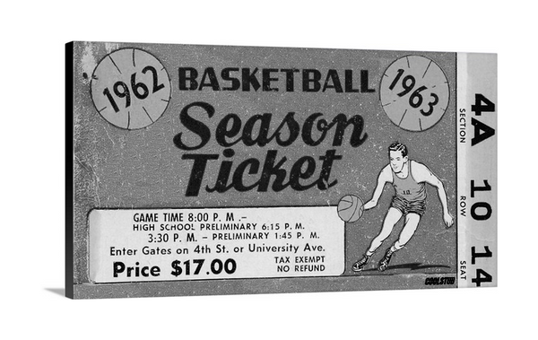 1963 Basketball Season Ticket Canvas Art