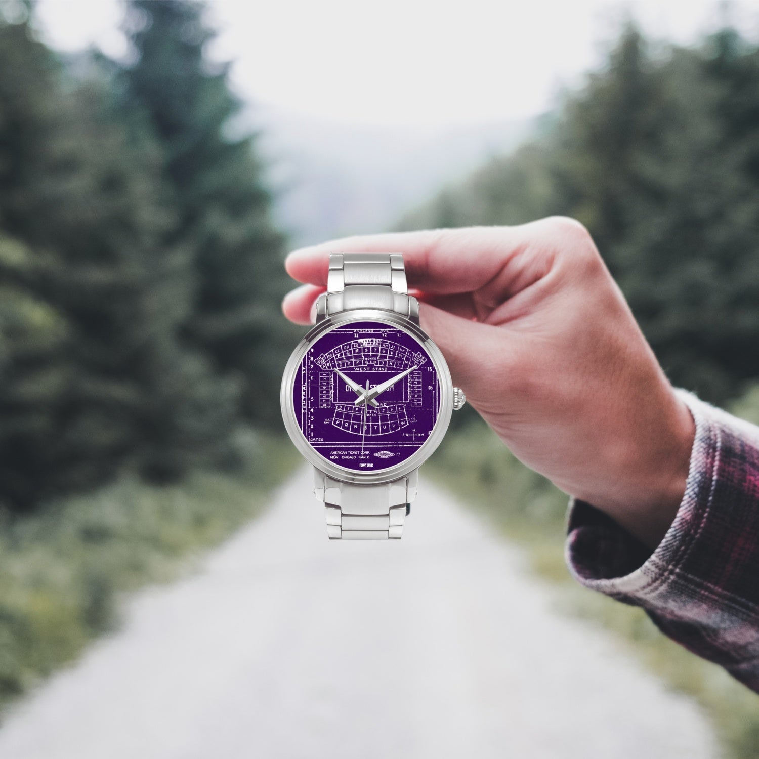 Silver and Purple Watch