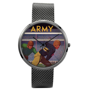 1934 Army Football Quartz Fashion Watch With Black Stainless Steel Band