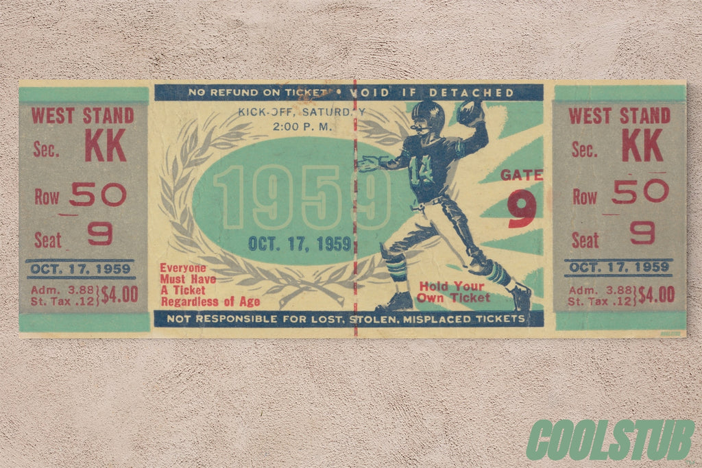 Vintage Football Ticket Canvas Art by Coolstub™ (1959)