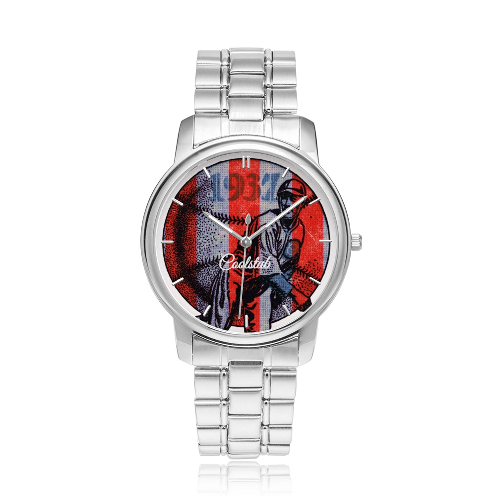 """Awesome Pitch"" Coolstub™ 1937 Patriotic Baseball Art Watch"