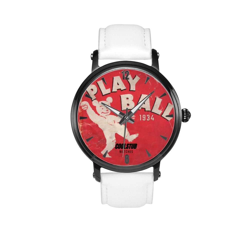 1934 vintage baseball watch reading PLAY BALL. White Leather strap with red baseball graphic watch face design.