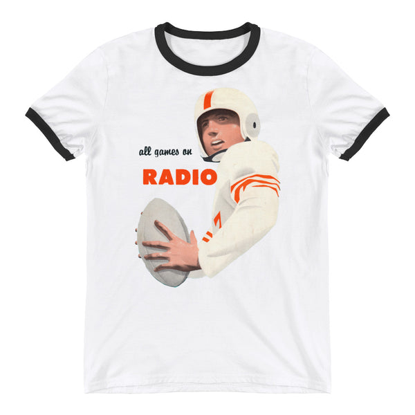all games on radio football tee, best retro sports tees