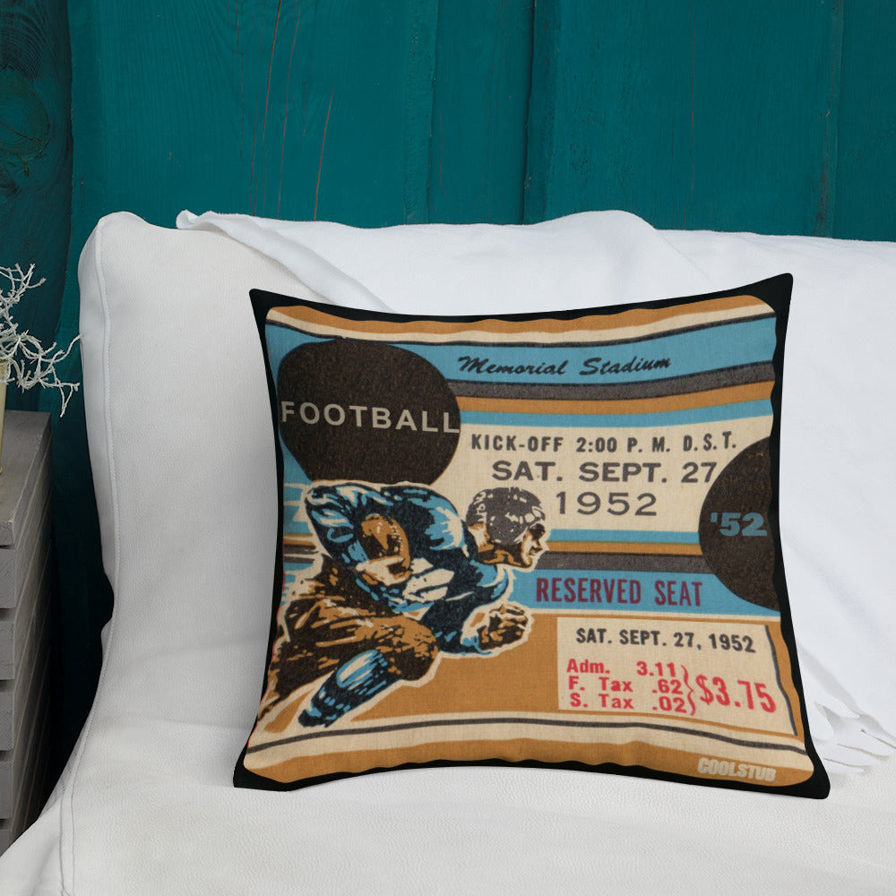 vintage ticket pillow, football ticket stub pillows