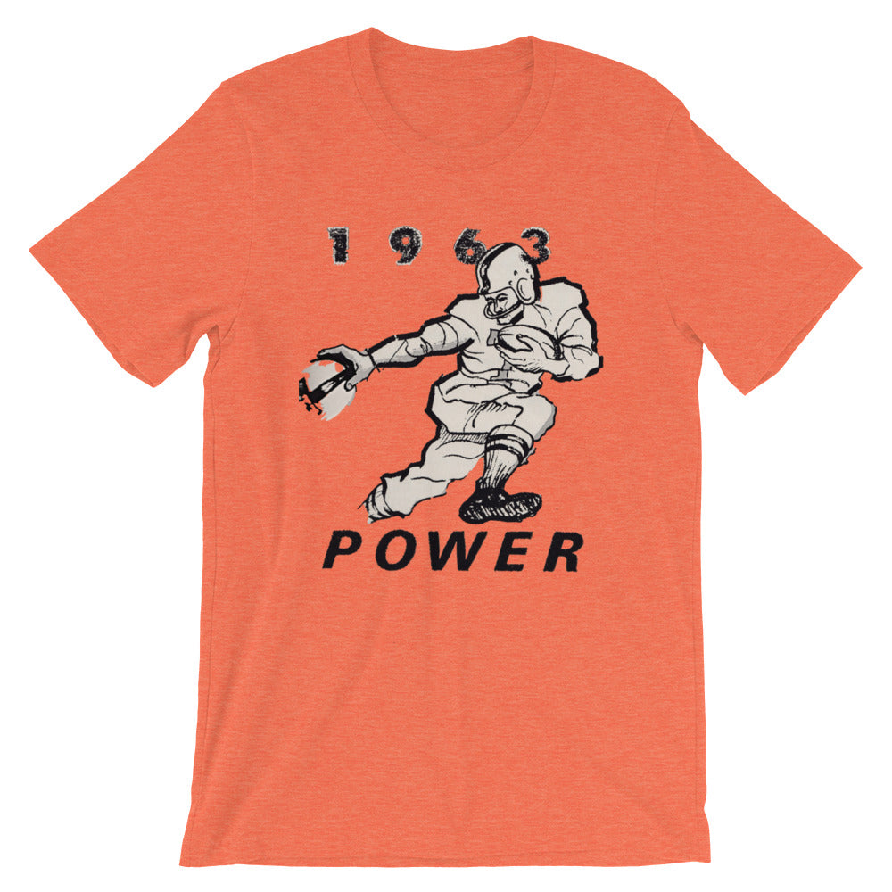 Orange vintage football tee designed from authentic 1963 football art in our collection. Coolstub authentic retro sports tees are stylish and fun sports clothing. This vintage gridiron tee shows a running back stiff arming a defender and the graphics read 1963 Power.