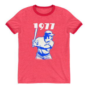 1977 Retro Baseball Ringer T-Shirt by Coolstub™
