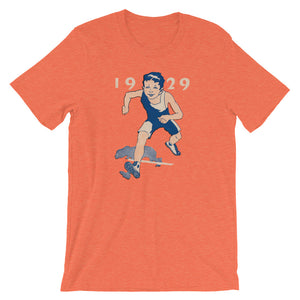 1929 vintage runner crossing the finish line t-shirt with authentic vintage 1929 font and real retro sports art design.
