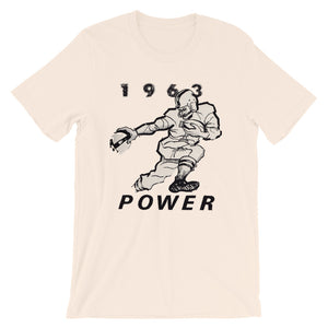 Peach vintage football tee designed from authentic 1963 football art in our collection. Coolstub authentic retro sports tees are stylish and fun sports clothing. This vintage gridiron tee shows a running back stiff arming a defender and the graphics read 1963 Power.