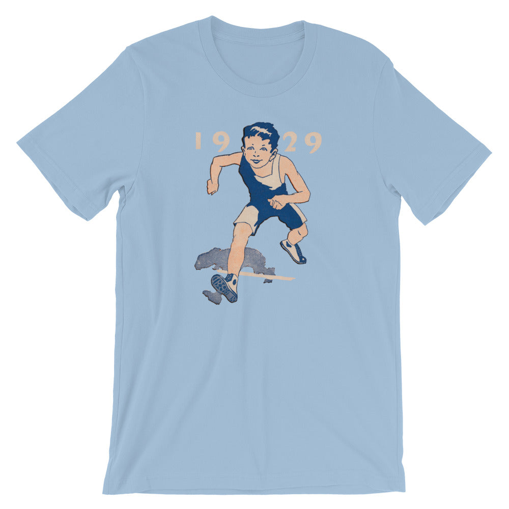 Vintage runner t-shirt designed from authentic 1929 track and field art and 1929 year font.