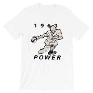 Vintage football tee designed from authentic 1963 football art in our collection. Coolstub authentic retro sports tees are stylish and fun sports clothing. This vintage gridiron tee shows a running back stiff arming a defender and the graphics read 1963 Power.