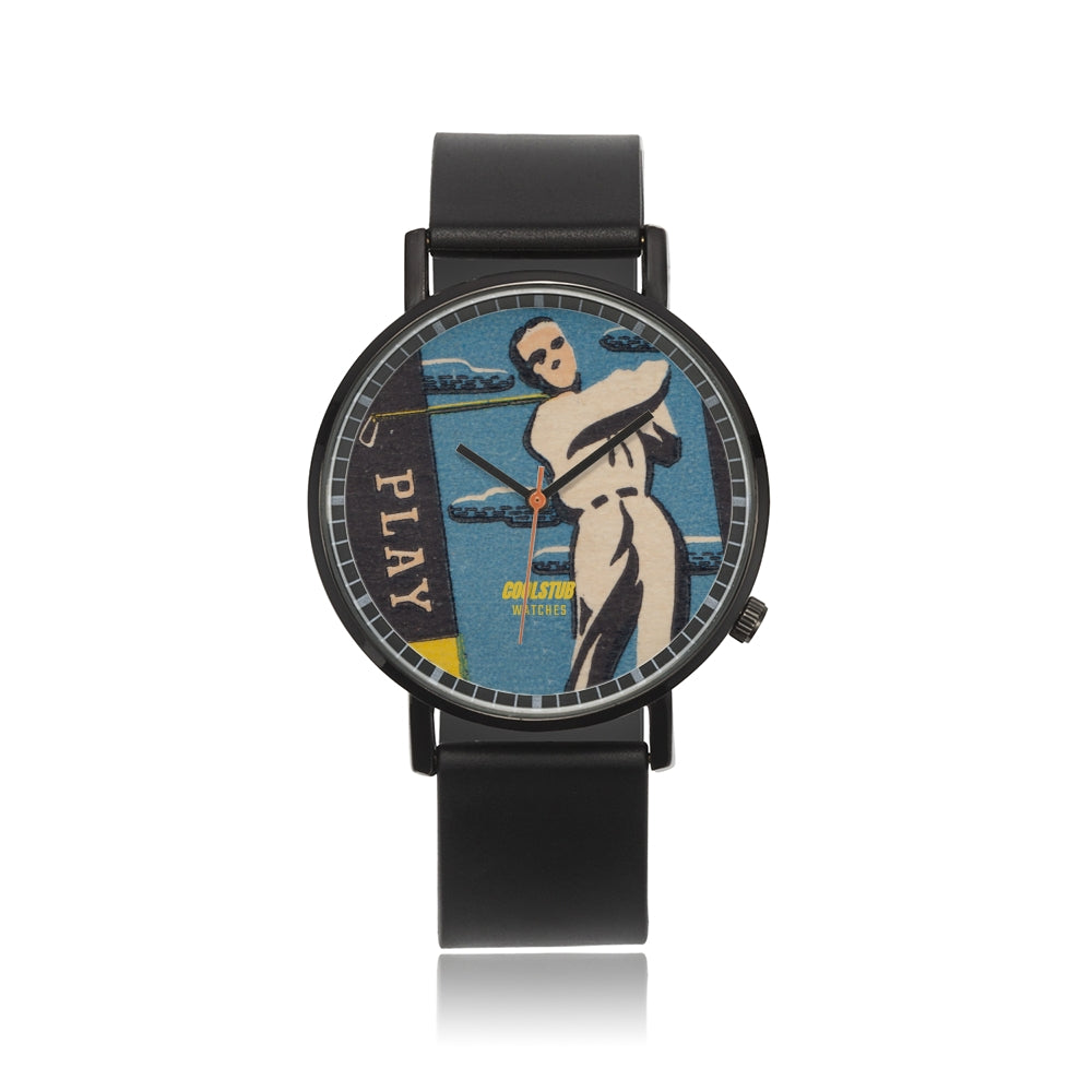 Vintage golf watch with authentic vintage sports art graphic. PVC Black Band. 40 mm watch face size custom made when you order.