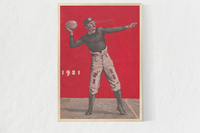 This vintage football art canvas is designed from authentic 1921 football art in our collection. The artwork shows a quarterback throwing a pass. The art also shows a vintage, old-school, football uniform and leather football helmet.